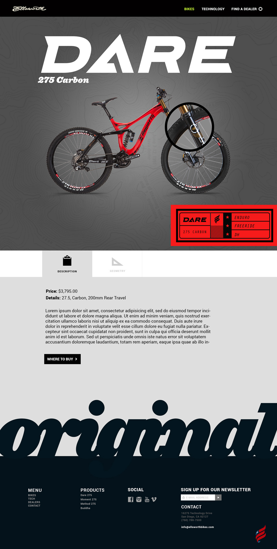 Ellsworth MTB detail website design