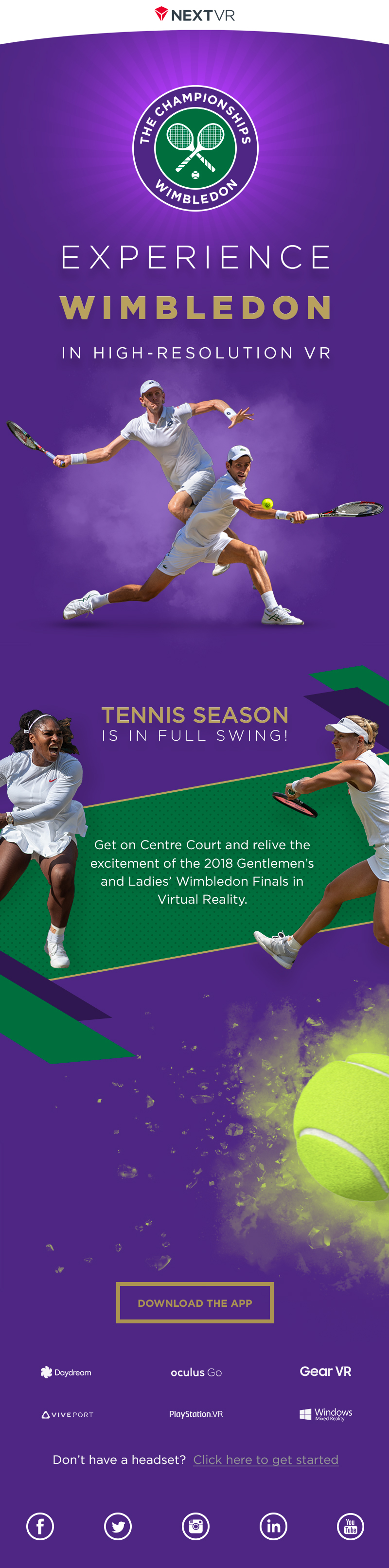 Email Marketing Design for Wimbledon Tennis in Virtual Reality