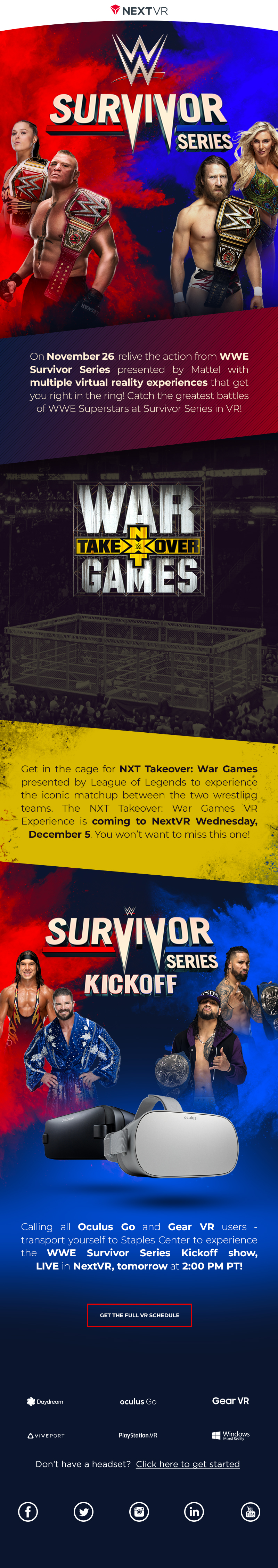Email design for WWE Survival Series in Virtual Reality
